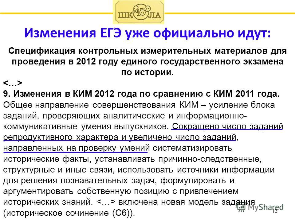 Изменения ЕГЭ уже официально идут: 13 Спецификация контрольных измерительных материалов для проведения в 2012 году единого государственного экзамена по истории. 9. Изменения в КИМ 2012 года по сравнению с КИМ 2011 года. Общее направление совершенство