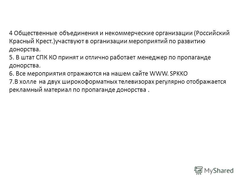 4 Общественные объединения и некоммерческие организации (Российский Красный Крест.)участвуют в организации мероприятий по развитию донорства. 5. В штат СПК КО принят и отлично работает менеджер по пропаганде донорства. 6. Все мероприятия отражаются н