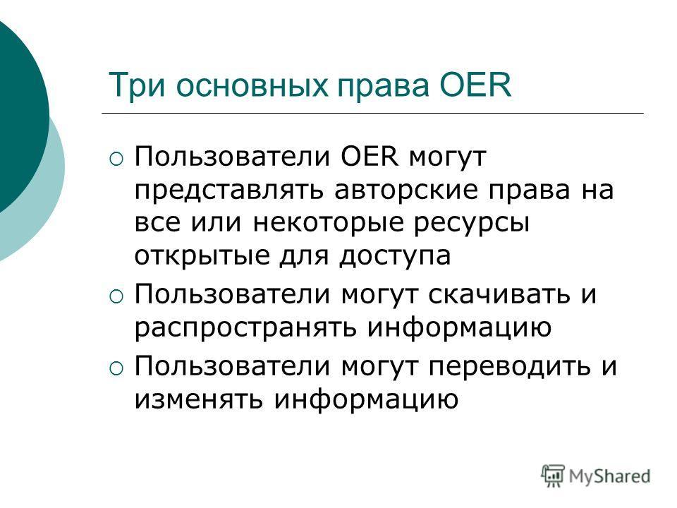Три основных права OER Пользователи OER могут представлять авторские права на все или некоторые ресурсы открытые для доступа Пользователи могут скачивать и распространять информацию Пользователи могут переводить и изменять информацию