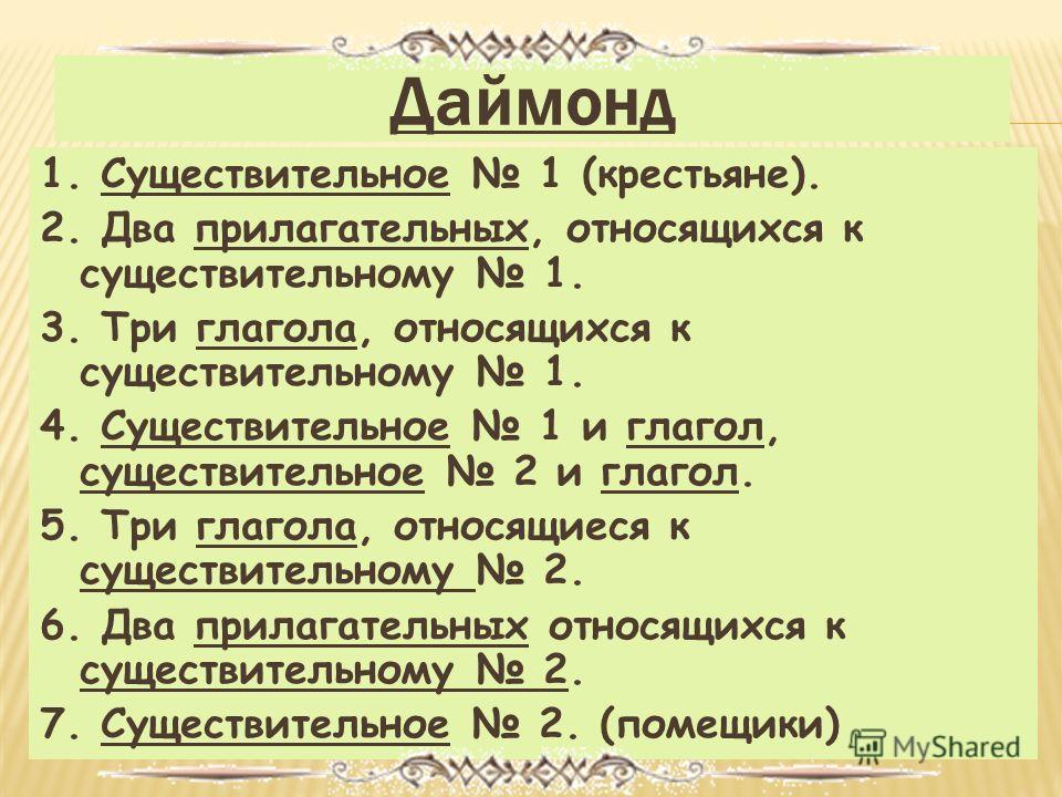 Даймонд 1. Существительное 1 (крестьяне). 2. Два прилагательных, относящихся к существительному 1. 3. Три глагола, относящихся к существительному 1. 4. Существительное 1 и глагол, существительное 2 и глагол. 5. Три глагола, относящиеся к существитель