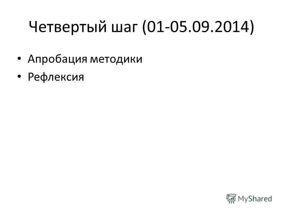 Четвертый шаг (01-05.09.2014) Апробация методики Рефлексия