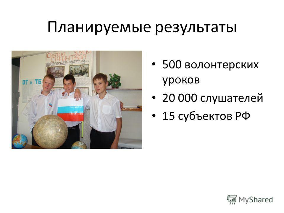 Планируемые результаты 500 волонтерских уроков 20 000 слушателей 15 субъектов РФ