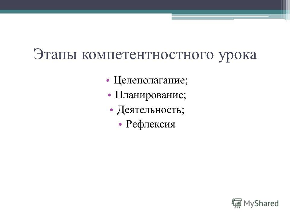 Этапы компетентностного урока Целеполагание; Планирование; Деятельность; Рефлексия