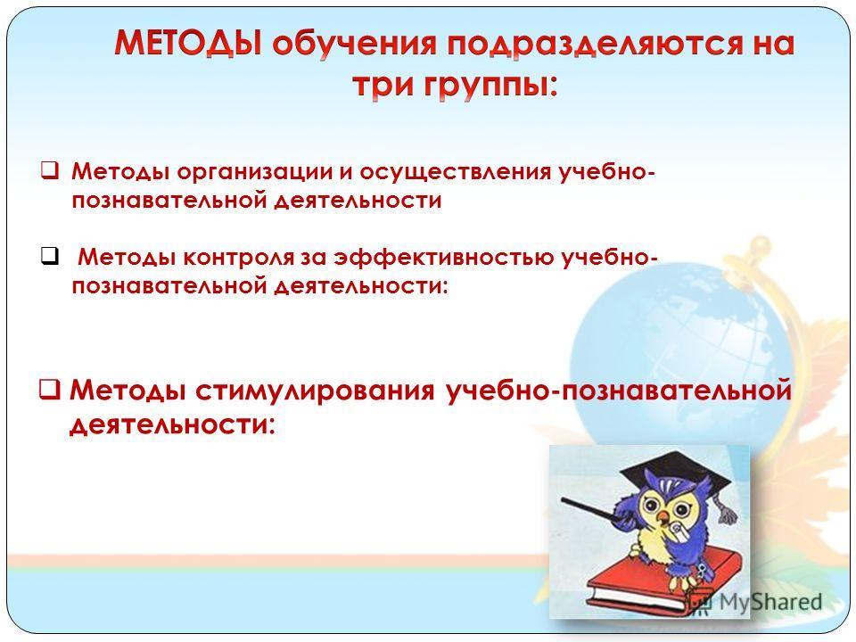 Методы организации и осуществления учебно- познавательной деятельности Методы контроля за эффективностью учебно- познавательной деятельности: Методы стимулирования учебно-познавательной деятельности: