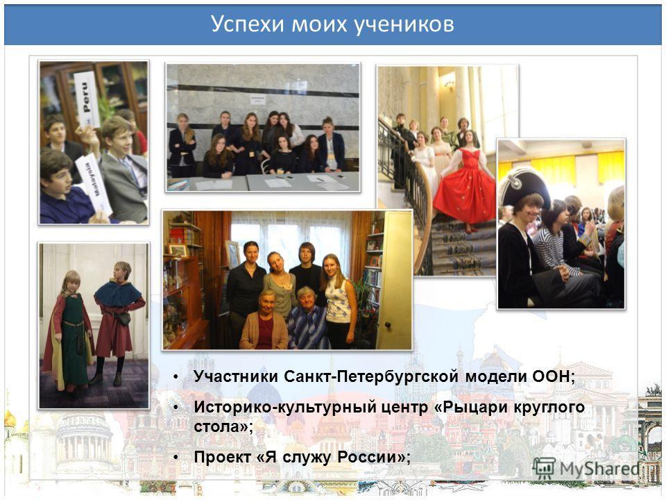 Успехи моих учеников Участники Санкт-Петербургской модели ООН; Историко-культурный центр «Рыцари круглого стола»; Проект «Я служу России»;