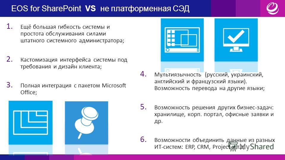 EOS for SharePoint VS не платформенная СЭД 1. Ещё большая гибкость системы и простота обслуживания силами штатного системного администратора; 2. Кастомизация интерфейса системы под требования и дизайн клиента; 3. Полная интеграция с пакетом Microsoft