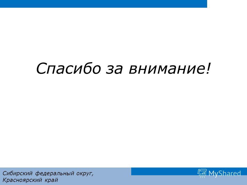 Спасибо за внимание! Сибирский федеральный округ, Красноярский край