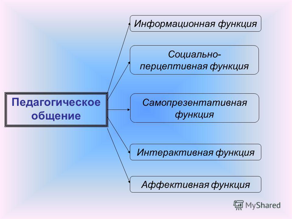 Педагогическое общение Информационная функция Социально- перцептивная функция Самопрезентативная функция Интерактивная функция Аффективная функция