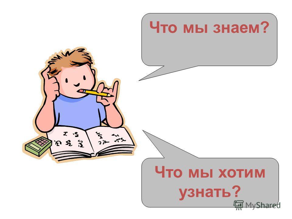 Что мы знаем? Что мы хотим узнать?