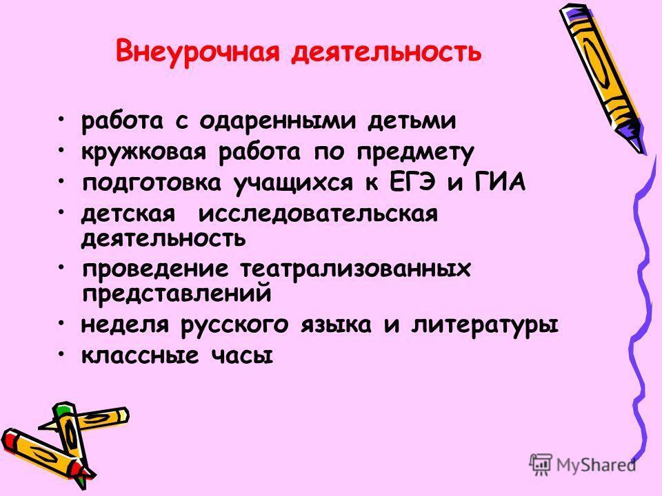 Внеурочная деятельность работа с одаренными детьми кружковая работа по предмету подготовка учащихся к ЕГЭ и ГИА детская исследовательская деятельность проведение театрализованных представлений неделя русского языка и литературы классные часы