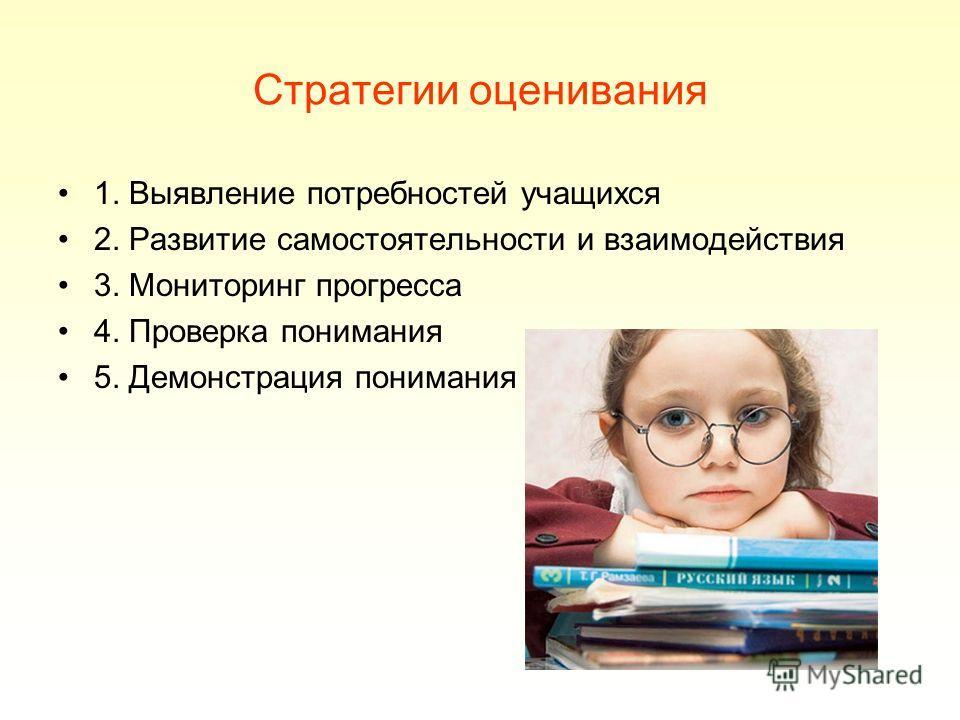 Стратегии оценивания 1. Выявление потребностей учащихся 2. Развитие самостоятельности и взаимодействия 3. Мониторинг прогресса 4. Проверка понимания 5. Демонстрация понимания
