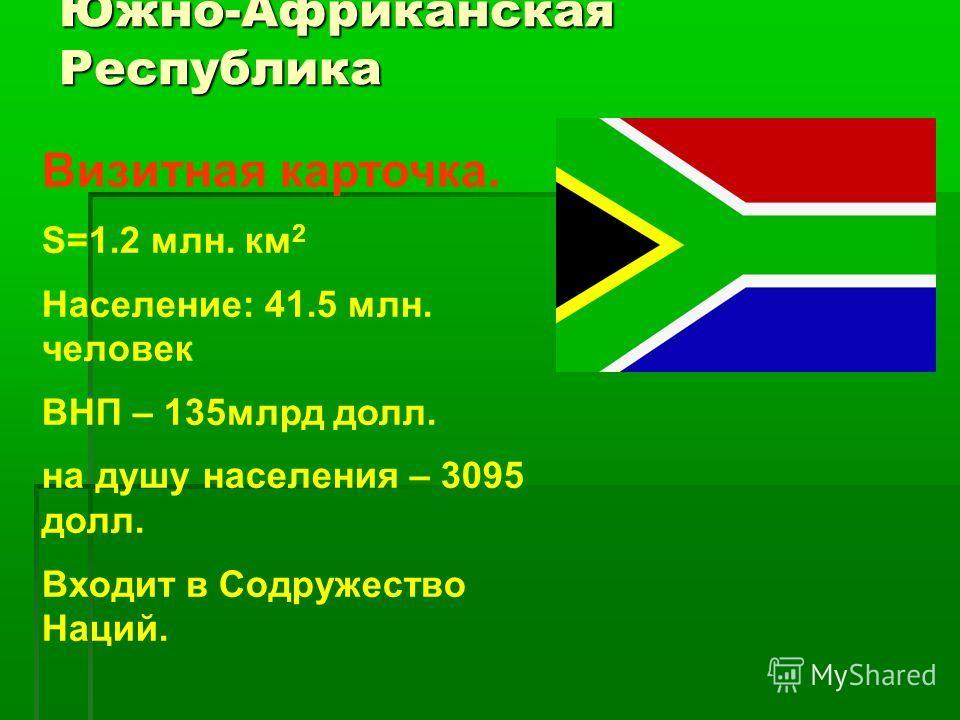 Южно-Африканская Республика Визитная карточка. S=1.2 млн. км 2 Население: 41.5 млн. человек ВНП – 135 млрд долл. на душу населения – 3095 долл. Входит в Содружество Наций.