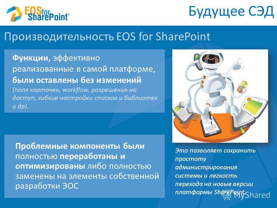 Будущее СЭД Производительность EOS for SharePoint Функции, эффективно реализованные в самой платформе, были оставлены без изменений (поля карточек, workflow, разрешения на доступ, гибкие настройки списков и библиотек и др). Проблемные компоненты были