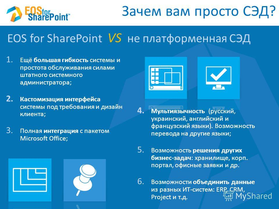 1. Ещё большая гибкость системы и простота обслуживания силами штатного системного администратора; 2. Кастомизация интерфейса системы под требования и дизайн клиента; 3. Полная интеграция с пакетом Microsoft Office; EOS for SharePoint VS не платформе