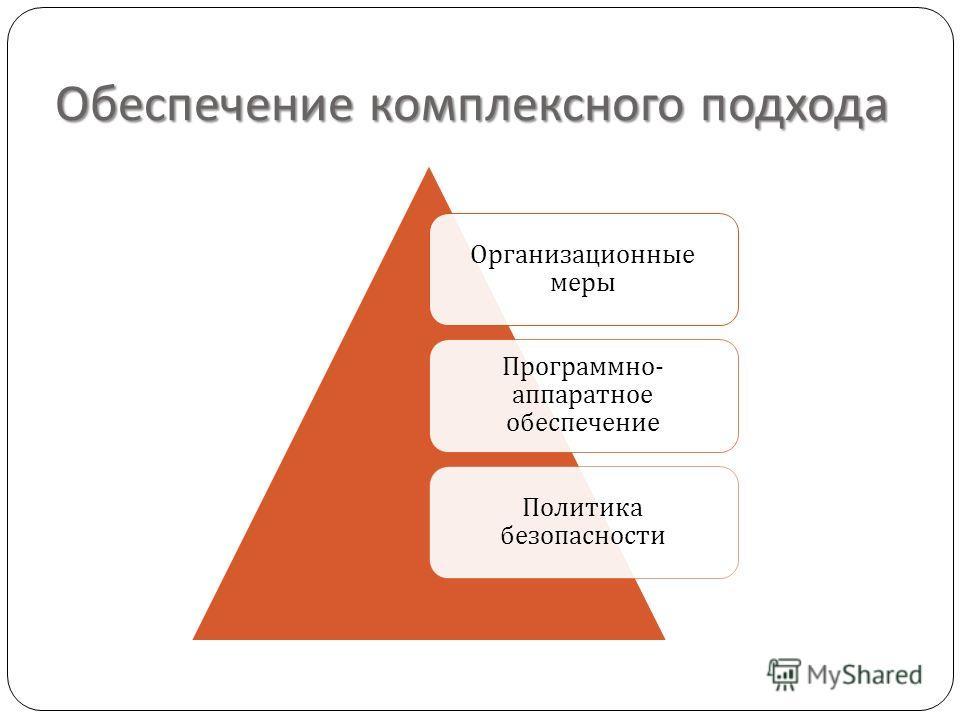 Обеспечение комплексного подхода Организационные меры Программно - аппаратное обеспечение Политика безопасности