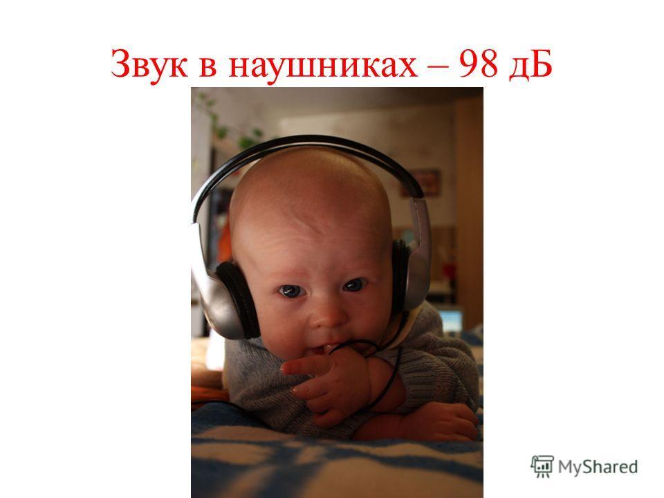 Звук в наушниках – 98 дБ