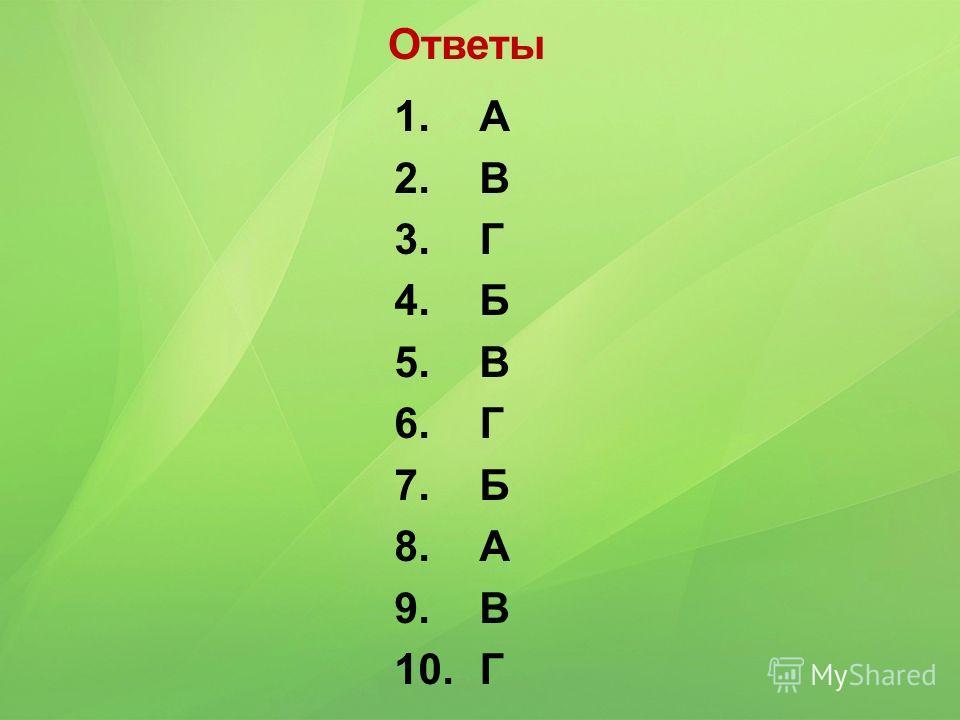 1. А 2. В 3. Г 4. Б 5. В 6. Г 7. Б 8. А 9. В 10. Г Ответы
