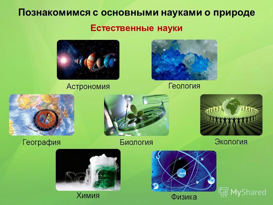 Познакомимся с основными науками о природе Естественные науки Астрономия Геология География Биология Экология Химия Физика