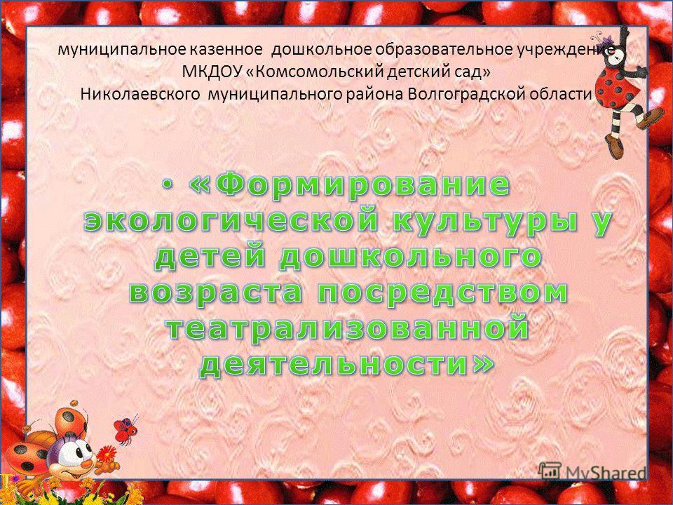 муниципальное казенное дошкольное образовательное учреждение МКДОУ «Комсомольский детский сад» Николаевского муниципального района Волгоградской области