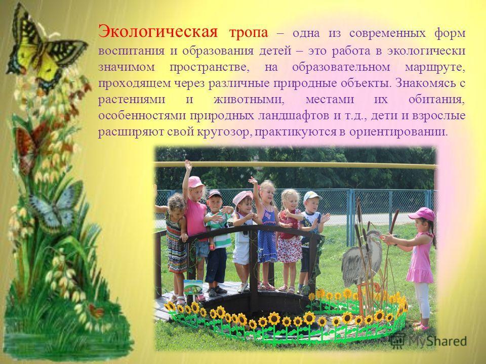 Экологическая тропа – одна из современных форм воспитания и образования детей – это работа в экологически значимом пространстве, на образовательном маршруте, проходящем через различные природные объекты. Знакомясь с растениями и животными, местами их