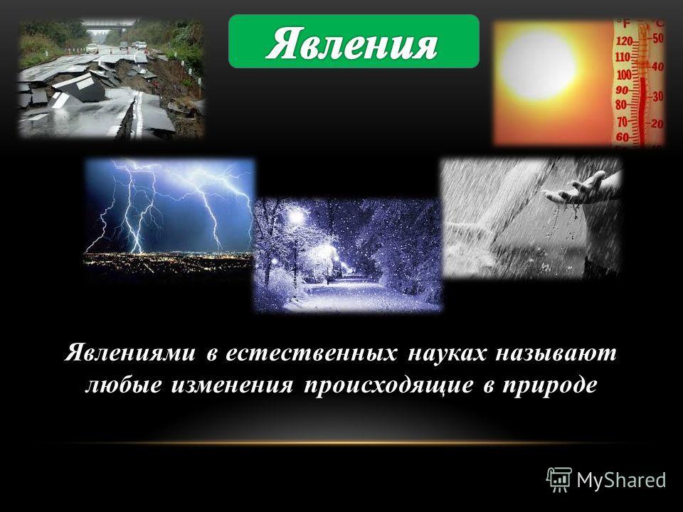 Явлениями в естественных науках называют любые изменения происходящие в природе