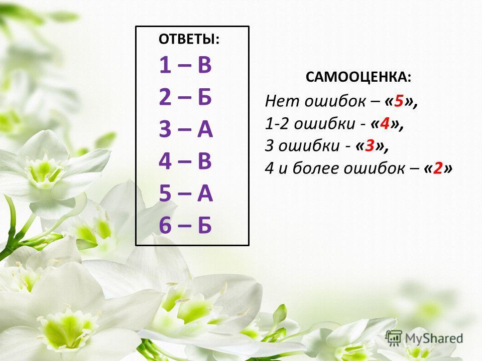 ОТВЕТЫ: 1 – В 2 – Б 3 – А 4 – В 5 – А 6 – Б САМООЦЕНКА: Нет ошибок – «5», 1-2 ошибки - «4», 3 ошибки - «3», 4 и более ошибок – «2»