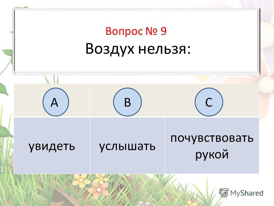 Вопрос 6 На каком рисунке изображён флаг России? увидеть услышать почувствовать рукой А BC Вопрос 9 Воздух нельзя: