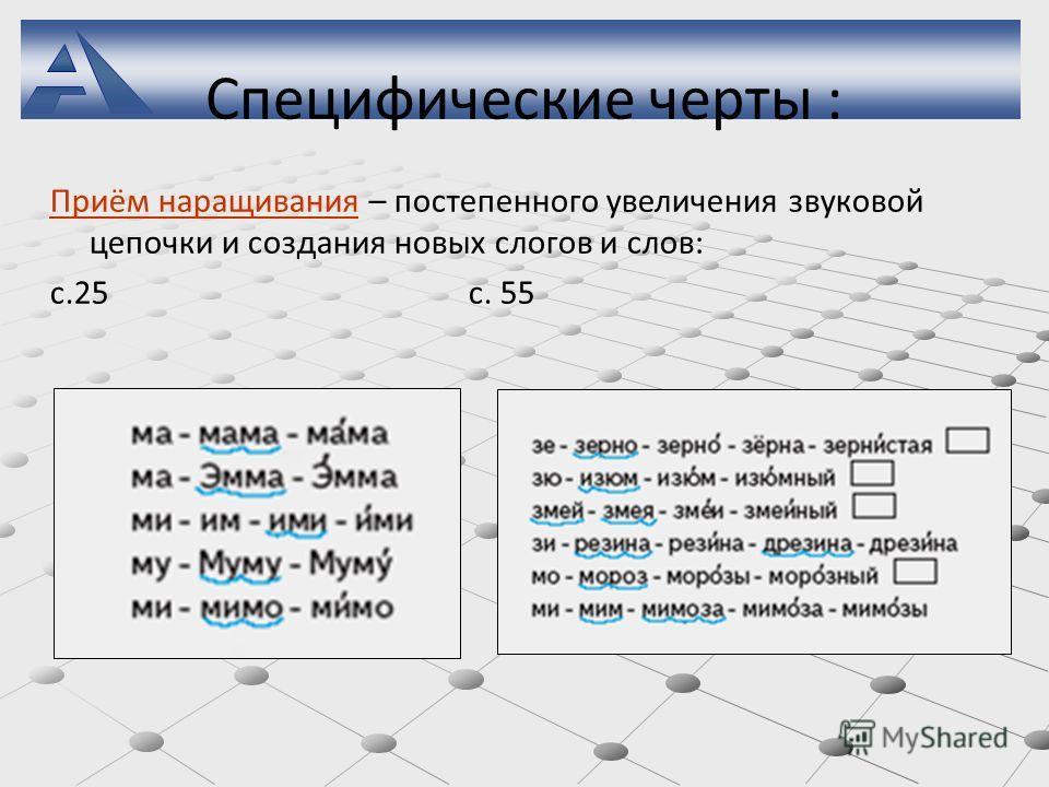 Специфические черты : Приём наращивания – постепенного увеличения звуковой цепочки и создания новых слогов и слов: с.25 с. 55