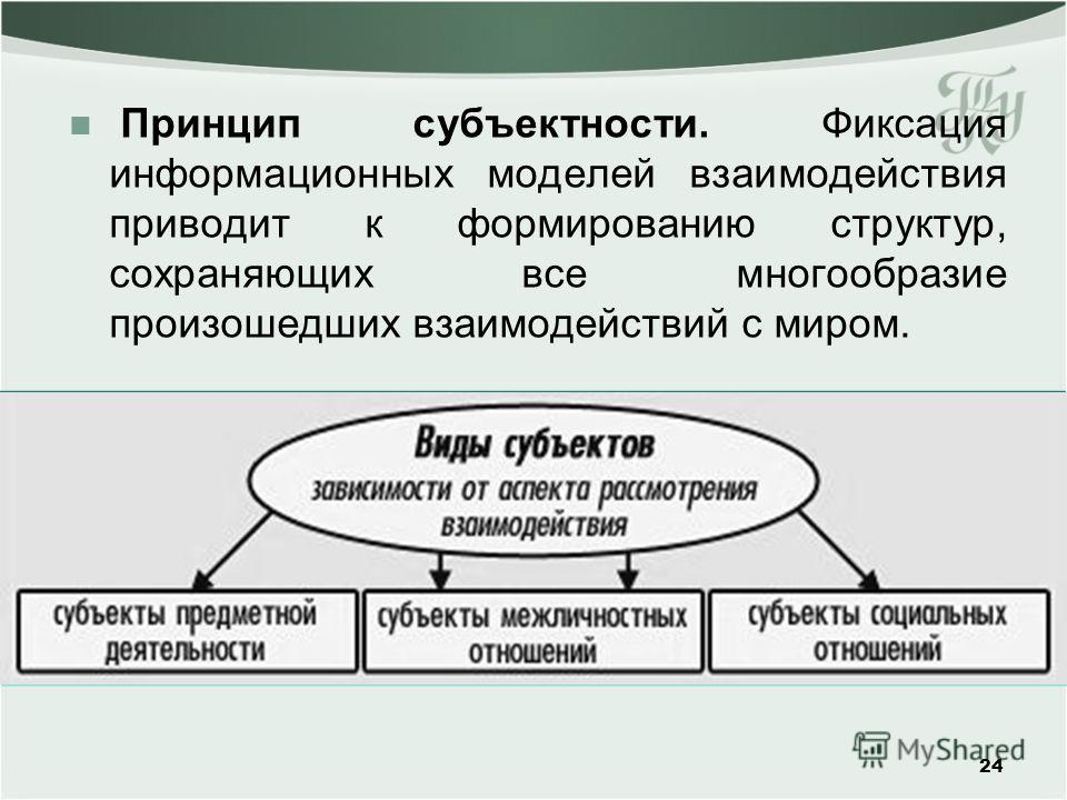 Принцип субъектности. Фиксация информационных моделей взаимодействия приводит к формированию структур, сохраняющих все многообразие произошедших взаимодействий с миром. 24
