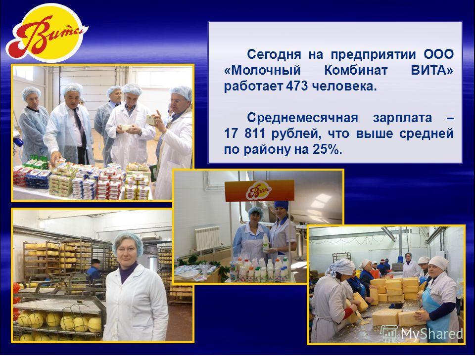 Сегодня на предприятии ООО «Молочный Комбинат ВИТА» работает 473 человека. Среднемесячная зарплата – 17 811 рублей, что выше средней по району на 25%.