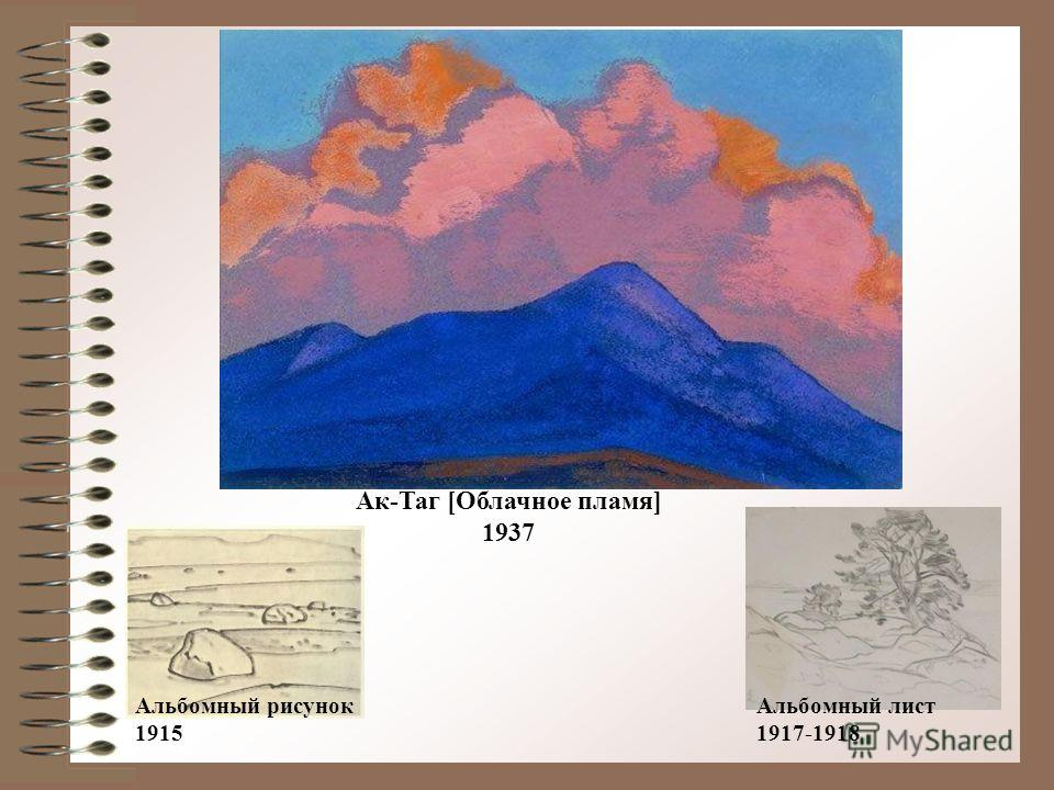 Ак-Таг [Облачное пламя] 1937 Альбомный лист 1917-1918 Альбомный рисунок 1915