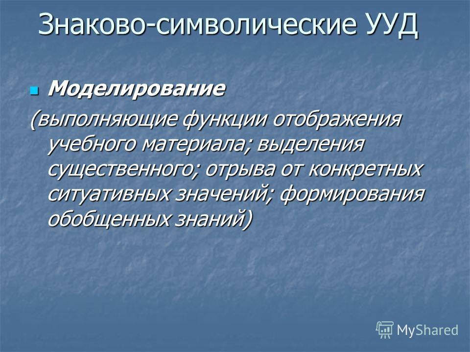 Знаково-символические УУД Моделирование Моделирование (выполняющие функции отображения учебного материала; выделения существенного; отрыва от конкретных ситуативных значений; формирования обобщенных знаний)