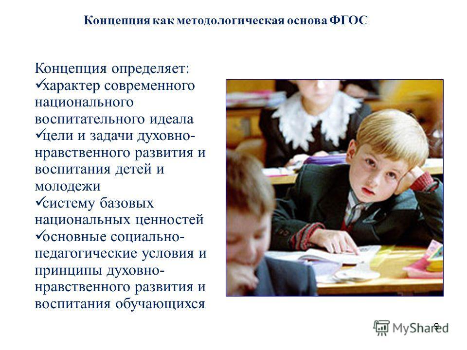9 Концепция как методологическая основа ФГОС Концепция определяет: характер современного национального воспитательного идеала цели и задачи духовно- нравственного развития и воспитания детей и молодежи систему базовых национальных ценностей основные