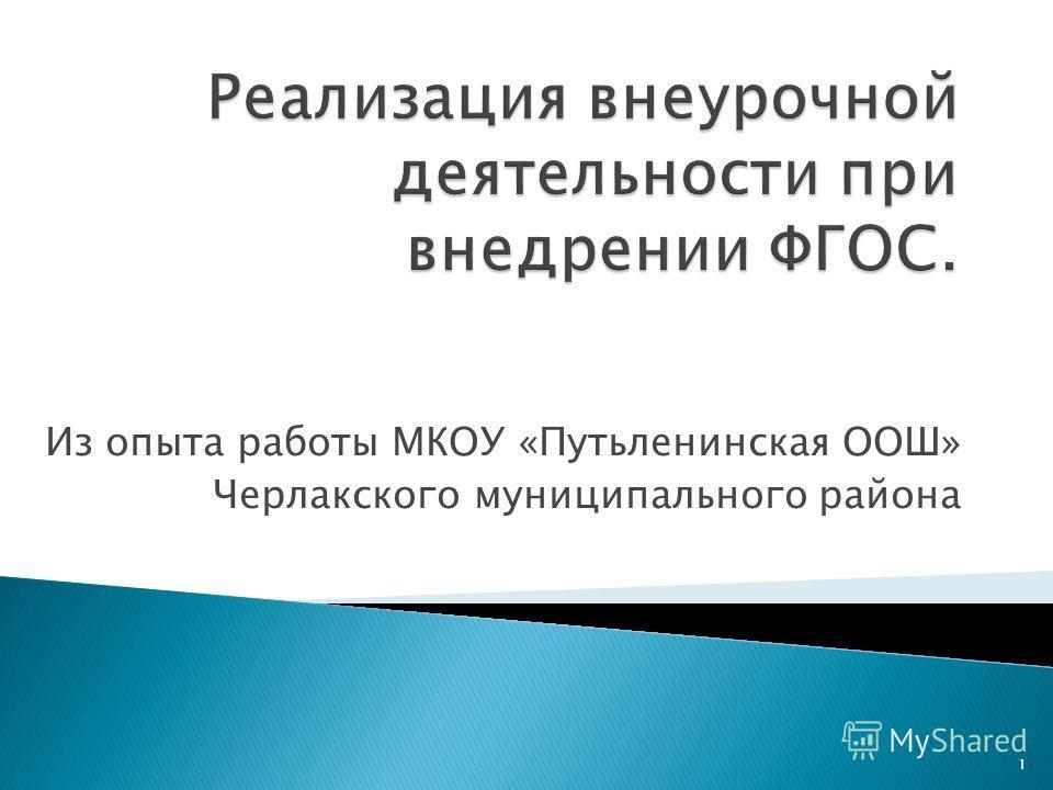 Из опыта работы МКОУ «Путьленинская ООШ» Черлакского муниципального района 1