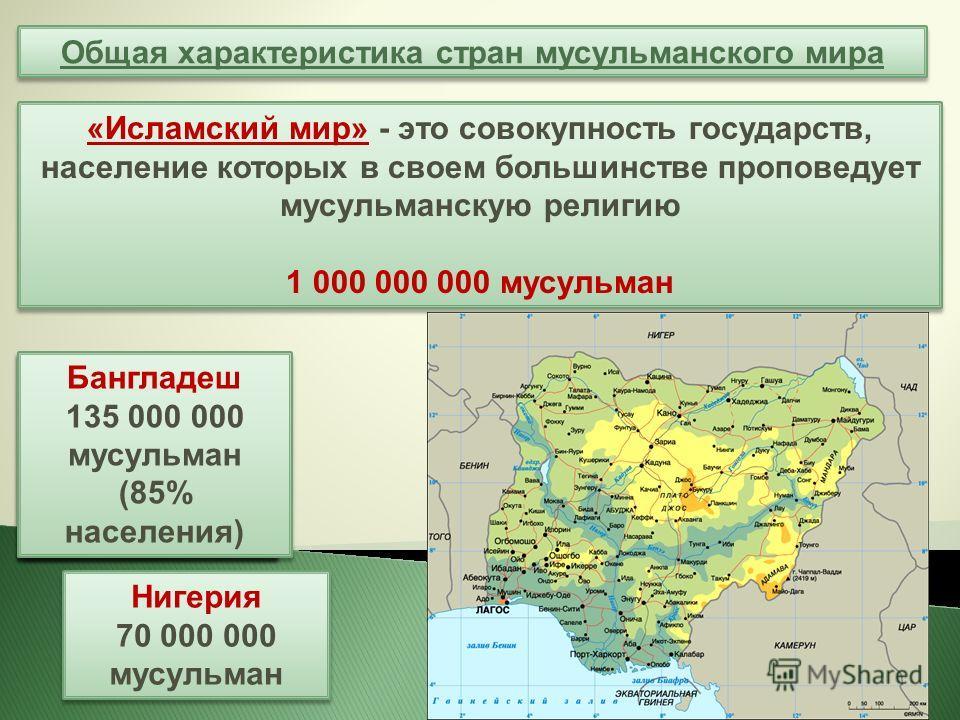 Общая характеристика стран мусульманского мира «Исламский мир» - это совокупность государств, население которых в своем большинстве проповедует мусульманскую религию 1 000 000 000 мусульман «Исламский мир» - это совокупность государств, население кот