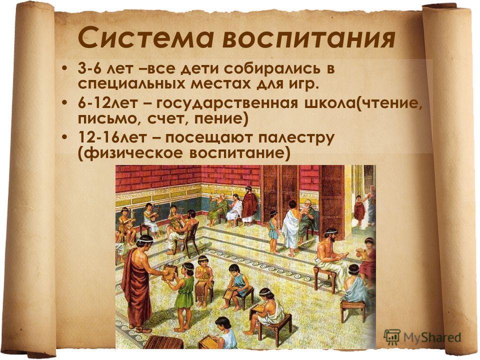Система воспитания 3-6 лет –все дети собирались в специальных местах для игр. 6-12 лет – государственная школа(чтение, письмо, счет, пение) 12-16 лет – посещают палестру (физическое воспитание)