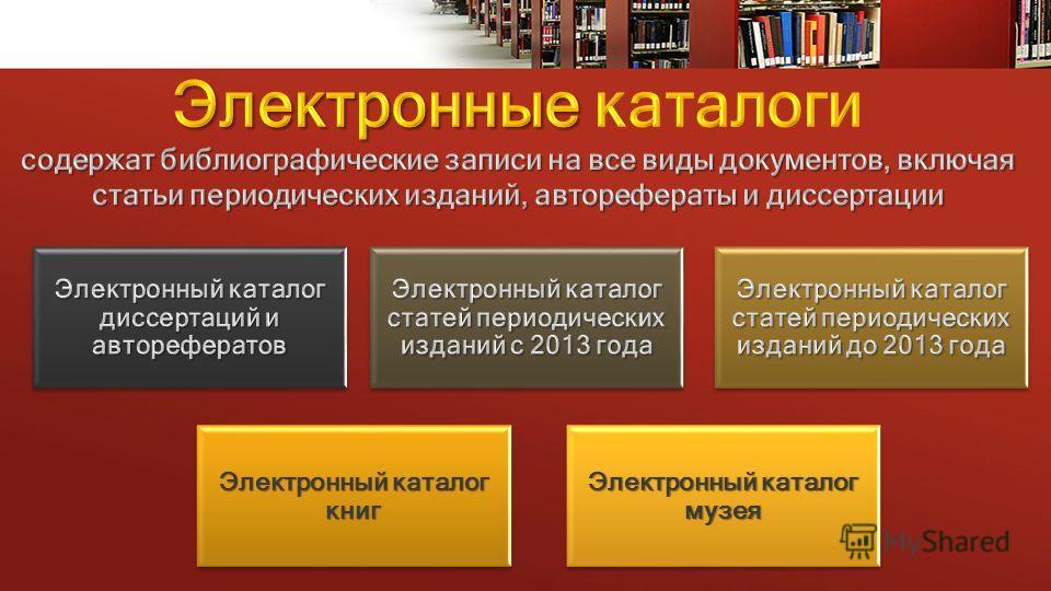 Электронный каталог книг Электронный каталог музея