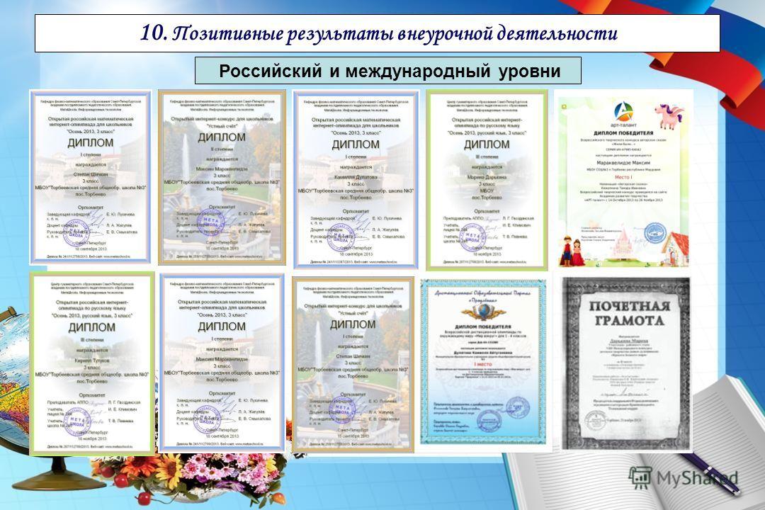 10. Позитивные результаты внеурочной деятельности Российский и международный уровни