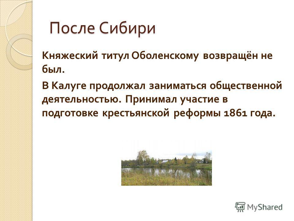 После Сибири Княжеский титул Оболенскому возвращён не был. В Калуге продолжал заниматься общественной деятельностью. Принимал участие в подготовке крестьянской реформы 1861 года.