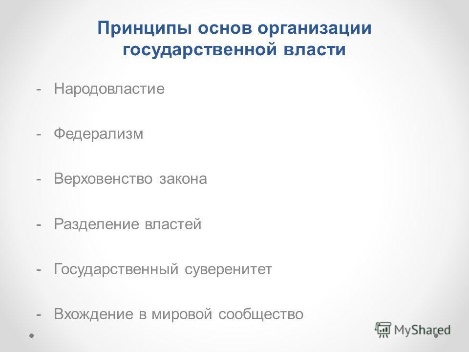 Принципы основ организации государственной власти -Народовластие -Федерализм -Верховенство закона -Разделение властей -Государственный суверенитет -Вхождение в мировой сообщество