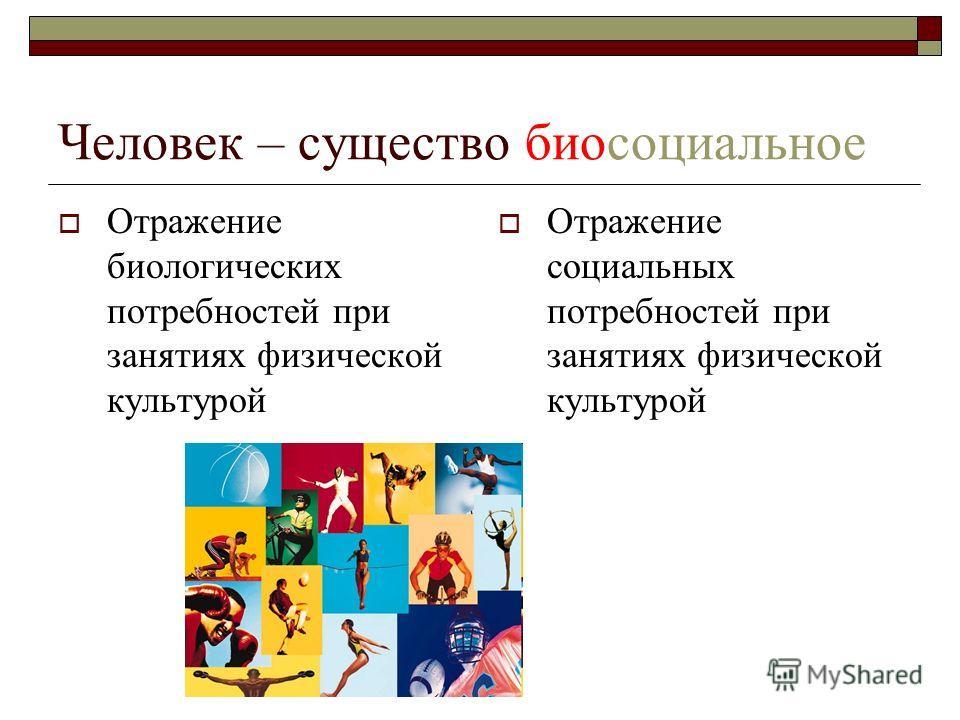 Человек – существо биосоциальное Отражение биологических потребностей при занятиях физической культурой Отражение социальных потребностей при занятиях физической культурой