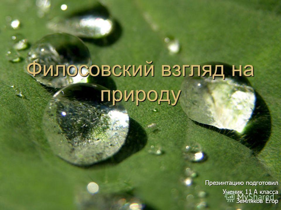 Филосовский взгляд на природу Презинтацию подготовил Ученик 11 А класса Земляков Егор