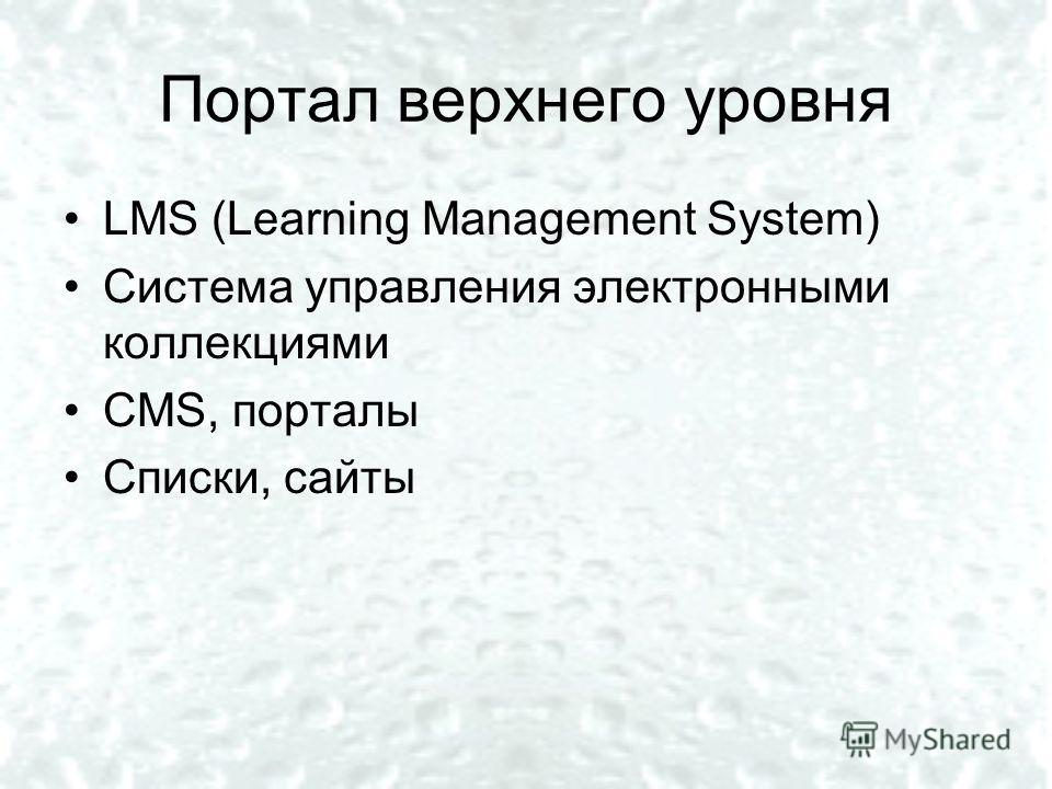 Портал верхнего уровня LMS (Learning Management System) Система управления электронными коллекциями СМS, порталы Списки, сайты
