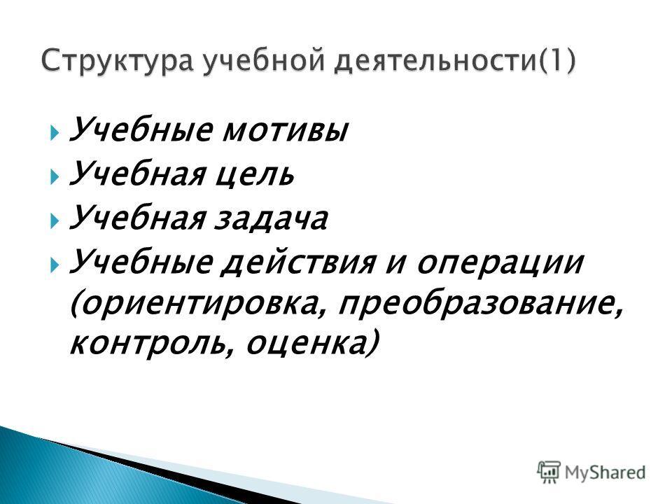 Учебные мотивы Учебная цель Учебная задача Учебные действия и операции (ориентировка, преобразование, контроль, оценка)