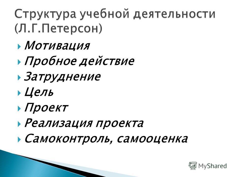 Мотивация Пробное действие Затруднение Цель Проект Реализация проекта Самоконтроль, самооценка