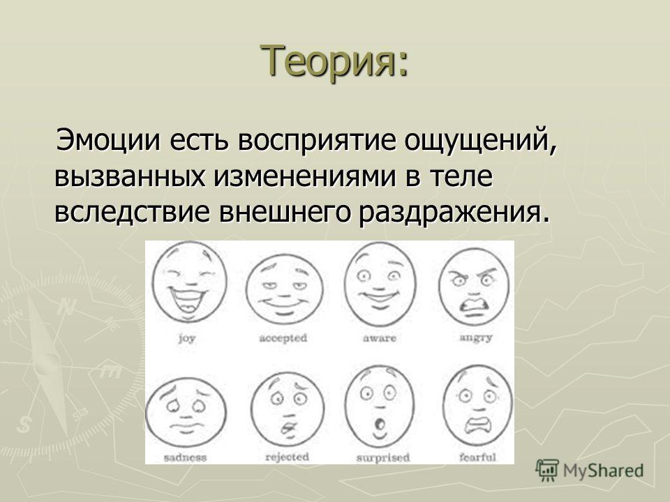 Теория: Эмоции есть восприятие ощущений, вызванных изменениями в теле вследствие внешнего раздражения. Эмоции есть восприятие ощущений, вызванных изменениями в теле вследствие внешнего раздражения.