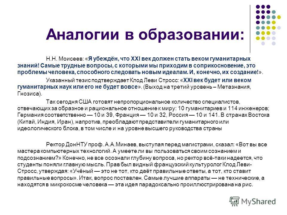 Аналогии в образовании: Н.Н. Моисеев: «Я убеждён, что ХХI век должен стать веком гуманитарных знаний! Самые трудные вопросы, с которыми мы приходим в соприкосновение, это проблемы человека, способного следовать новым идеалам. И, конечно, их создание!