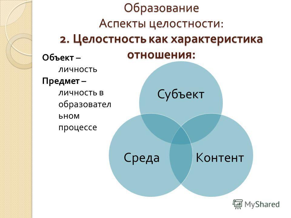 Образование Аспекты целостности : 2. Целостность как характеристика отношения : Субъект Контент Среда Объект – личность Предмет – личность в образовательном процессе