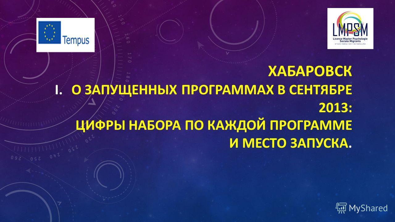 ХАБАРОВСК I.О ЗАПУЩЕННЫХ ПРОГРАММАХ В СЕНТЯБРЕ 2013: ЦИФРЫ НАБОРА ПО КАЖДОЙ ПРОГРАММЕ И МЕСТО ЗАПУСКА.