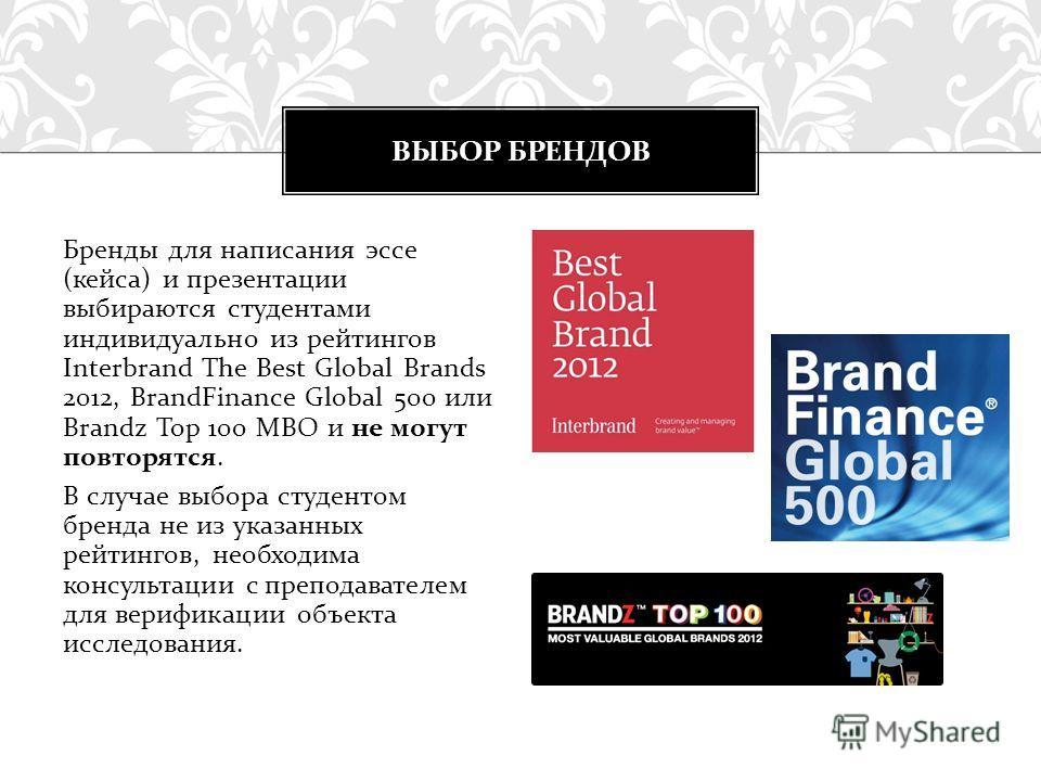 Бренды для написания эссе (кейса) и презентации выбираются студентами индивидуально из рейтингов Interbrand The Best Global Brands 2012, BrandFinance Global 500 или Brandz Top 100 MBO и не могут повторятся. В случае выбора студентом бренда не из указ